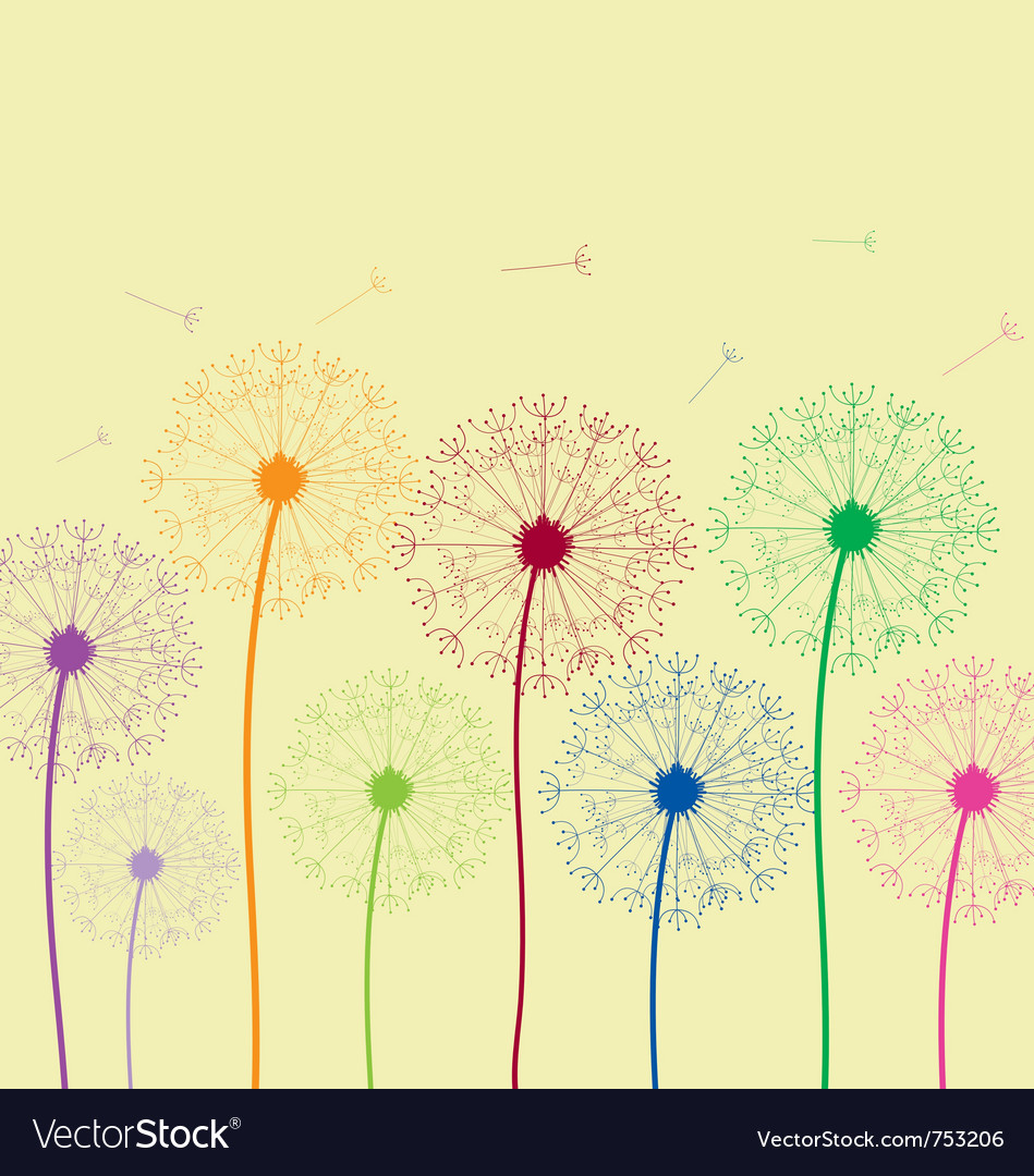 Dandelion colorful vector | Price: 1 Credit (USD $1)