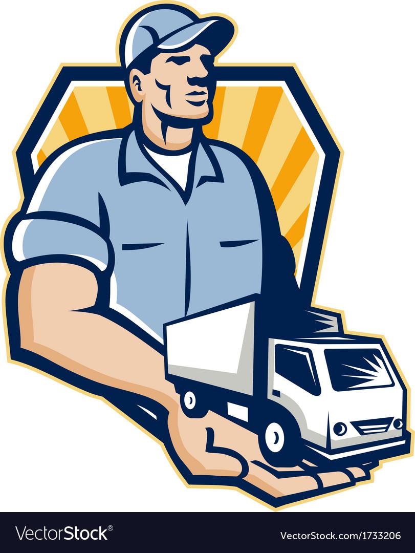 Delivery man handing removal van crest retro vector | Price: 1 Credit (USD $1)