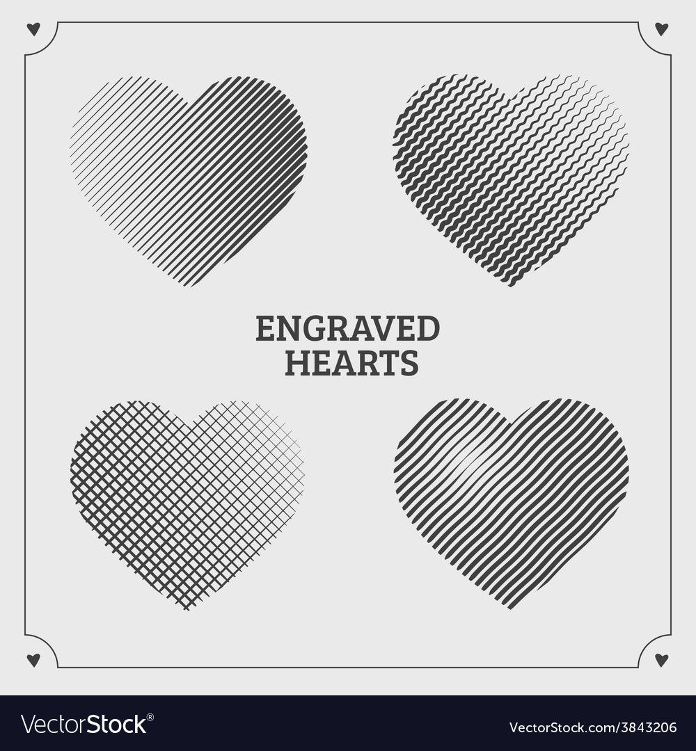 Engraved hearts vector | Price: 1 Credit (USD $1)