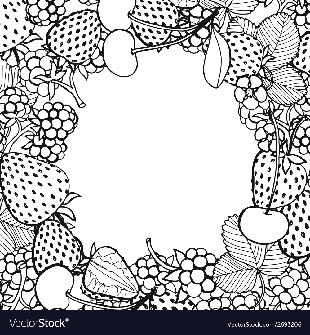 Frame of berries vector | Price: 1 Credit (USD $1)