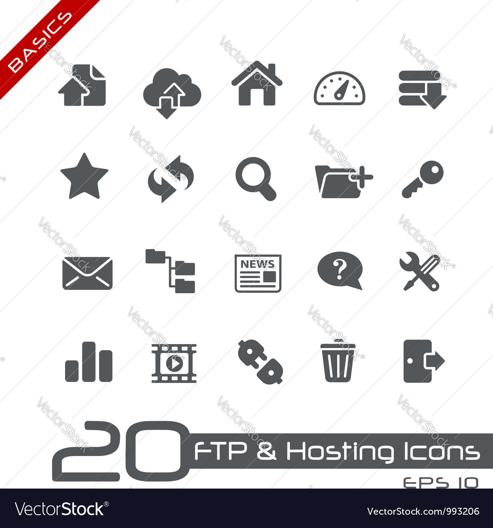 Hosting icons basics series vector | Price: 1 Credit (USD $1)