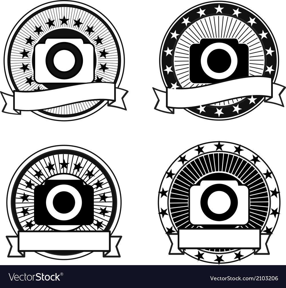Set of camera badges vector | Price: 1 Credit (USD $1)