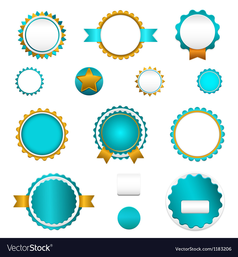 Set of sale badges labels and stickers in blue vector | Price: 1 Credit (USD $1)