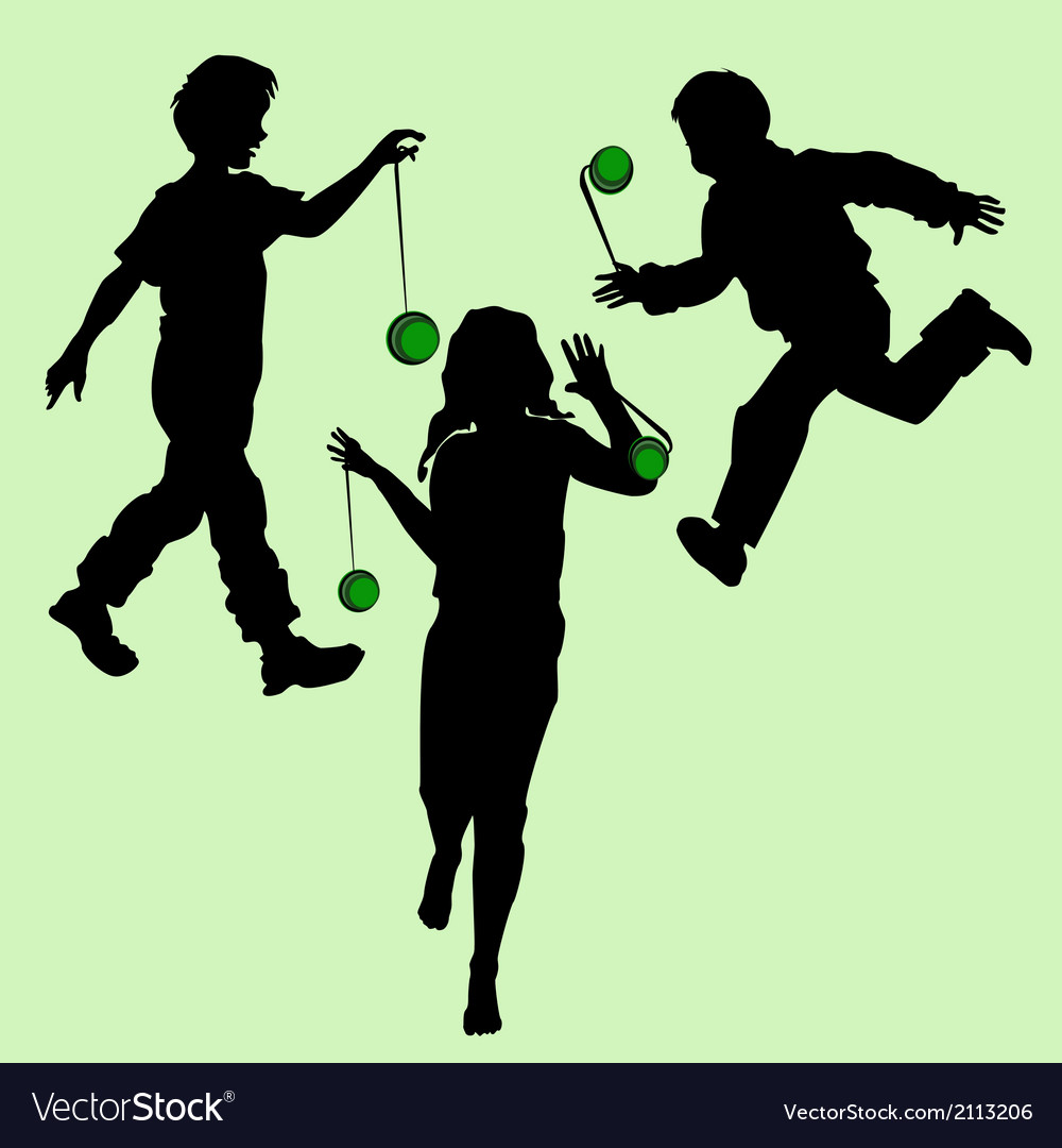 Silhouettes of children playing vector | Price: 1 Credit (USD $1)