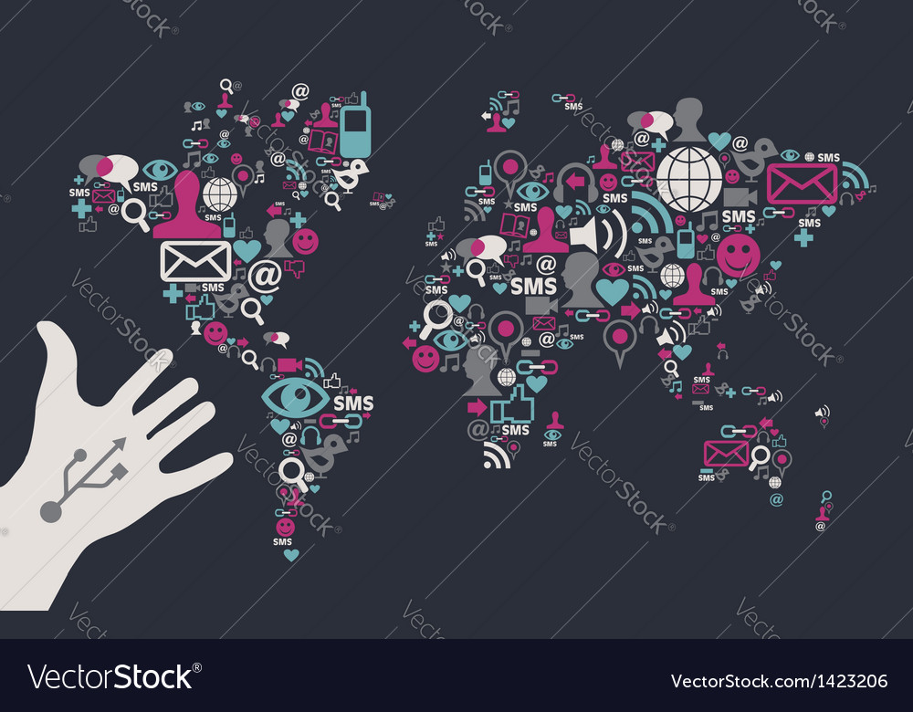 Social media global map vector | Price: 1 Credit (USD $1)