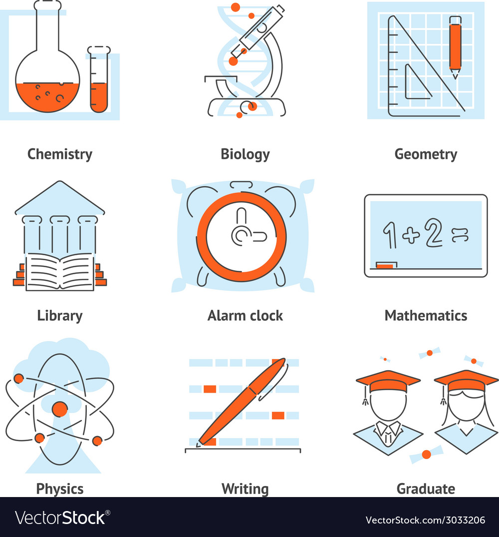 Various school themed graphic icons vector | Price: 1 Credit (USD $1)