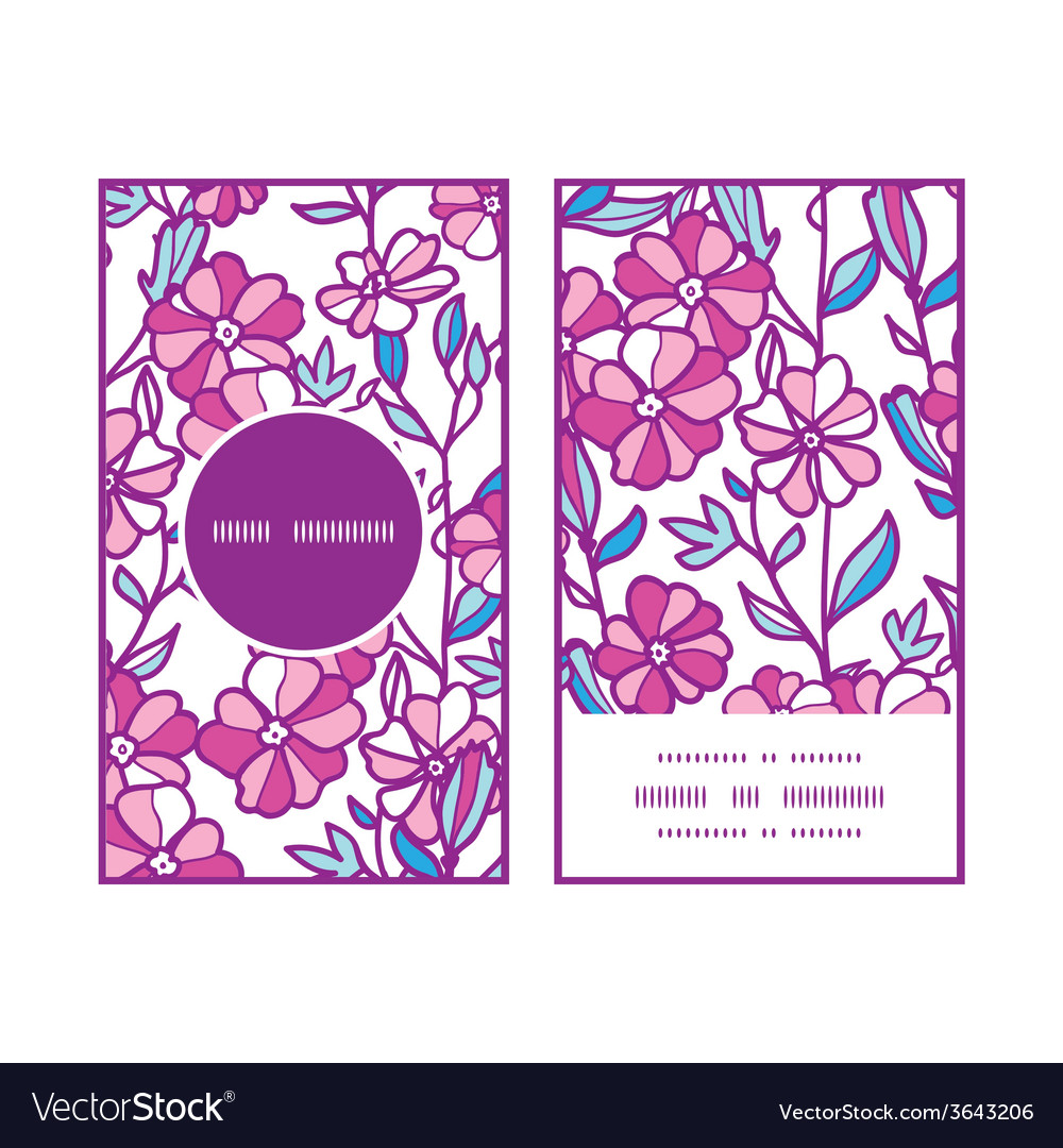 Vibrant field flowers vertical round frame pattern vector | Price: 1 Credit (USD $1)