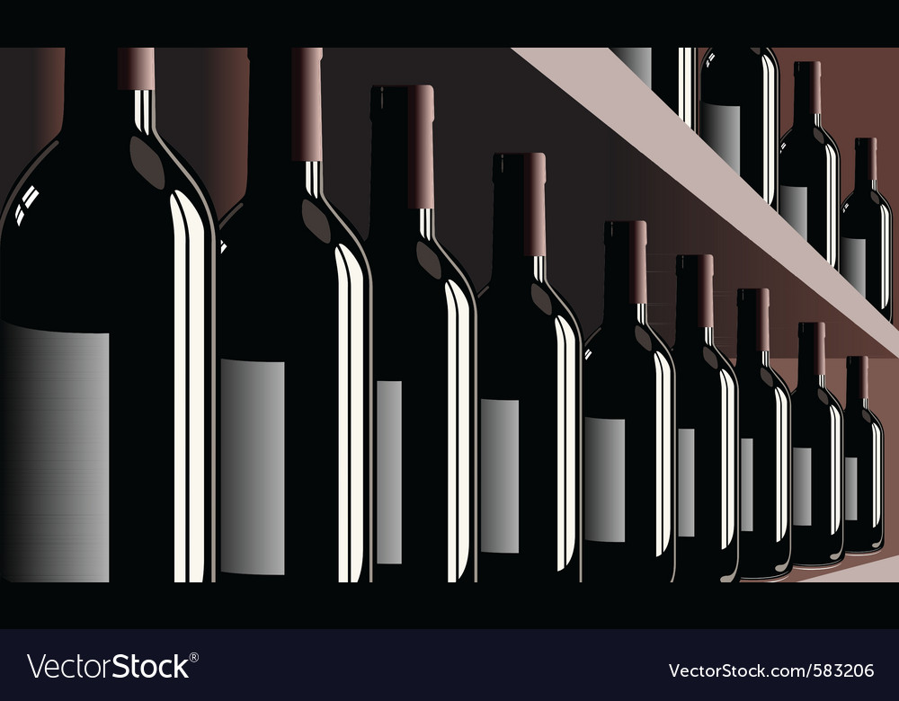 Wine bottles shelf store winery vector | Price: 3 Credit (USD $3)