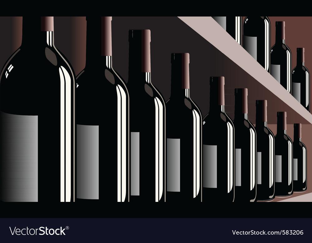 Wine bottles shelf store winery vector | Price: 3 Credit (USD $3)