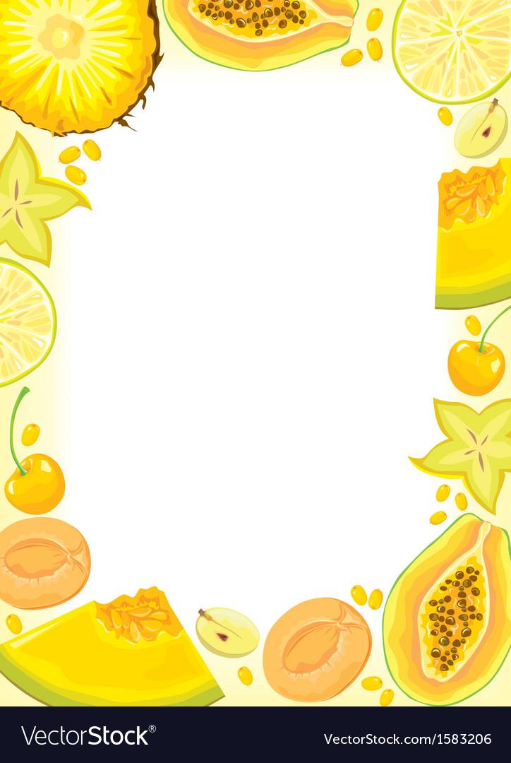 Yellow fruits and berries frame vector | Price: 1 Credit (USD $1)