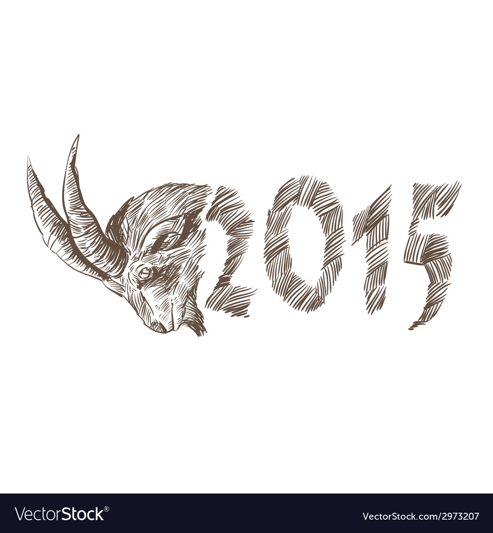 2015 goat head drawing vector | Price: 1 Credit (USD $1)