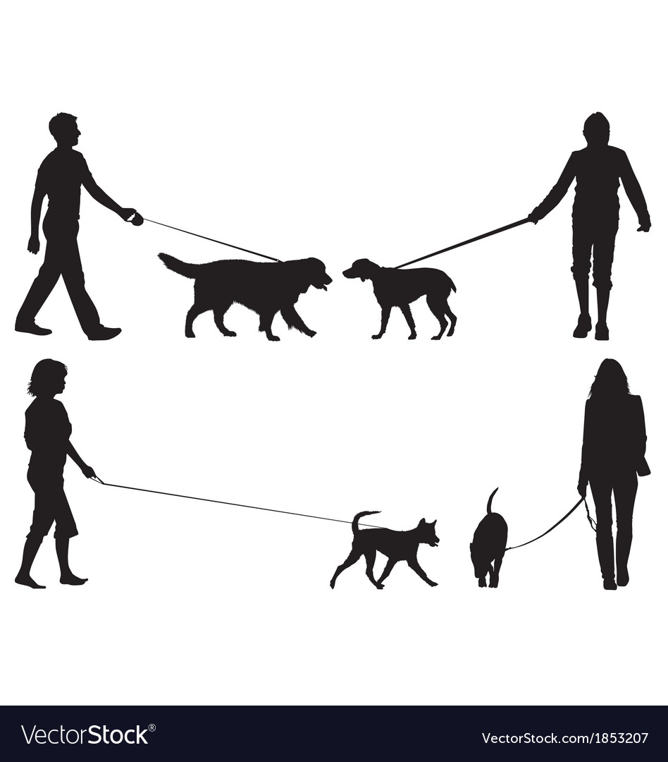Dog walkers vector | Price: 1 Credit (USD $1)