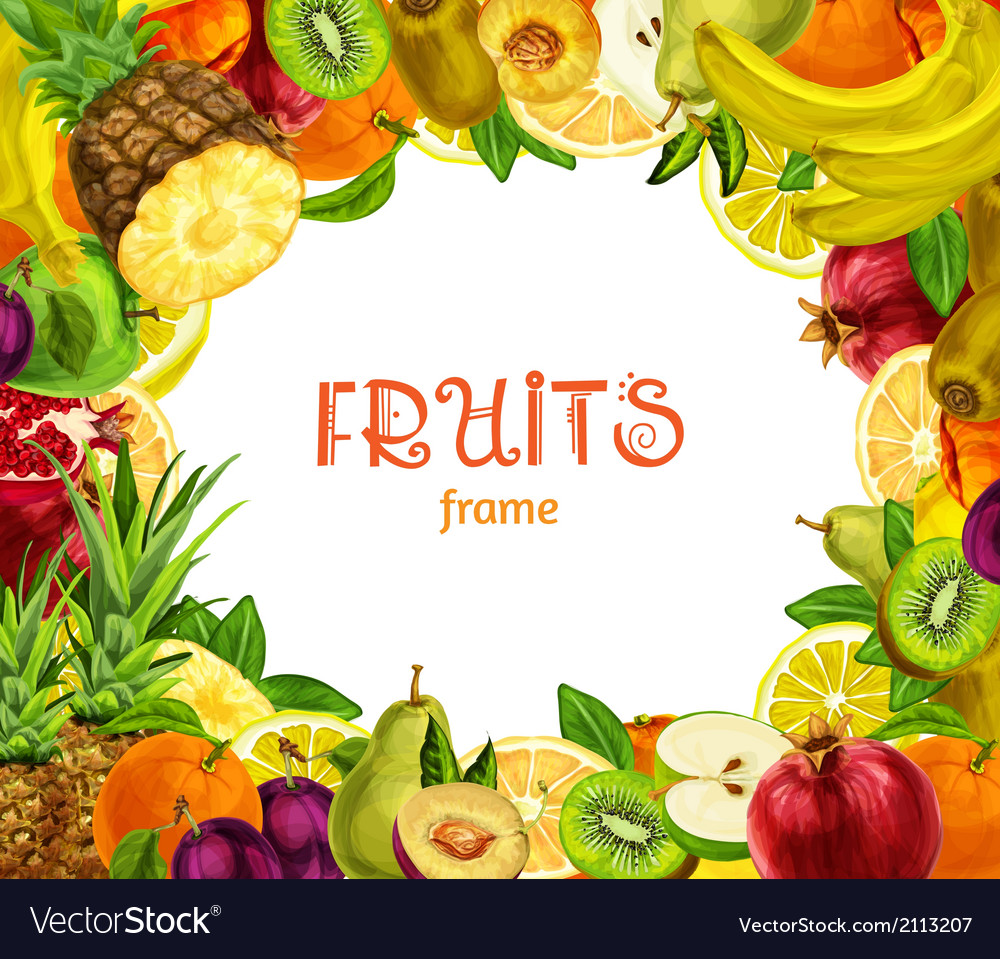 Exotic fruits frame vector | Price: 1 Credit (USD $1)
