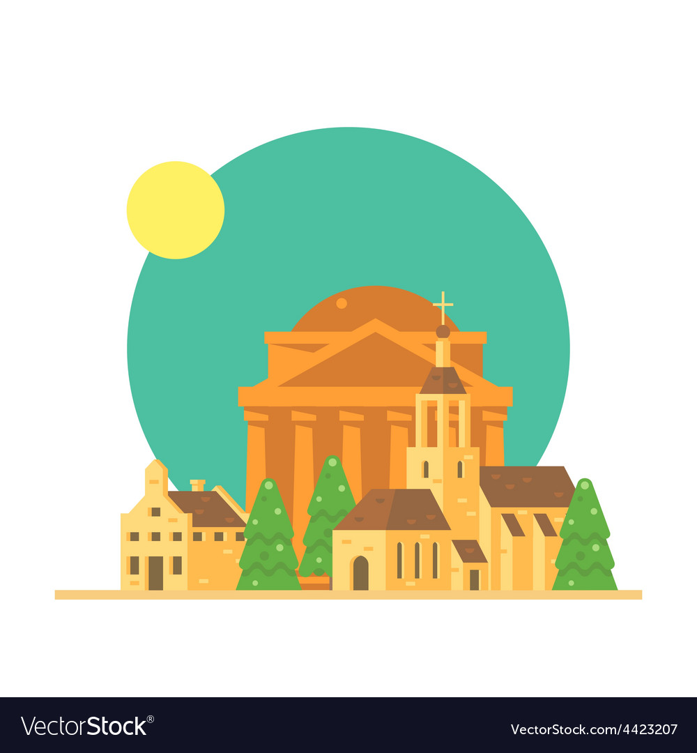 Flat design of pantheon italy with village vector | Price: 3 Credit (USD $3)