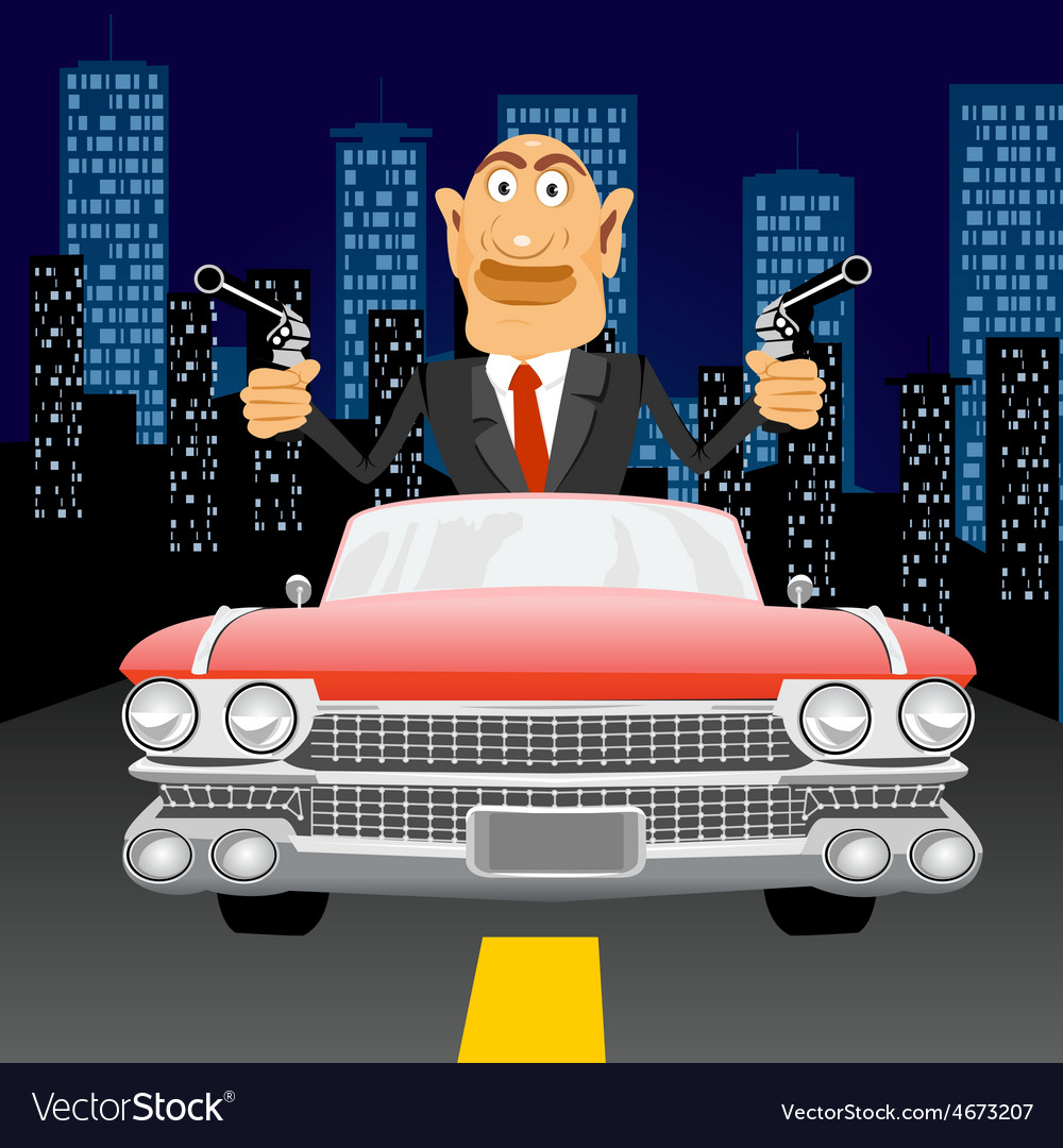 Gangster with handgun driving vector | Price: 1 Credit (USD $1)