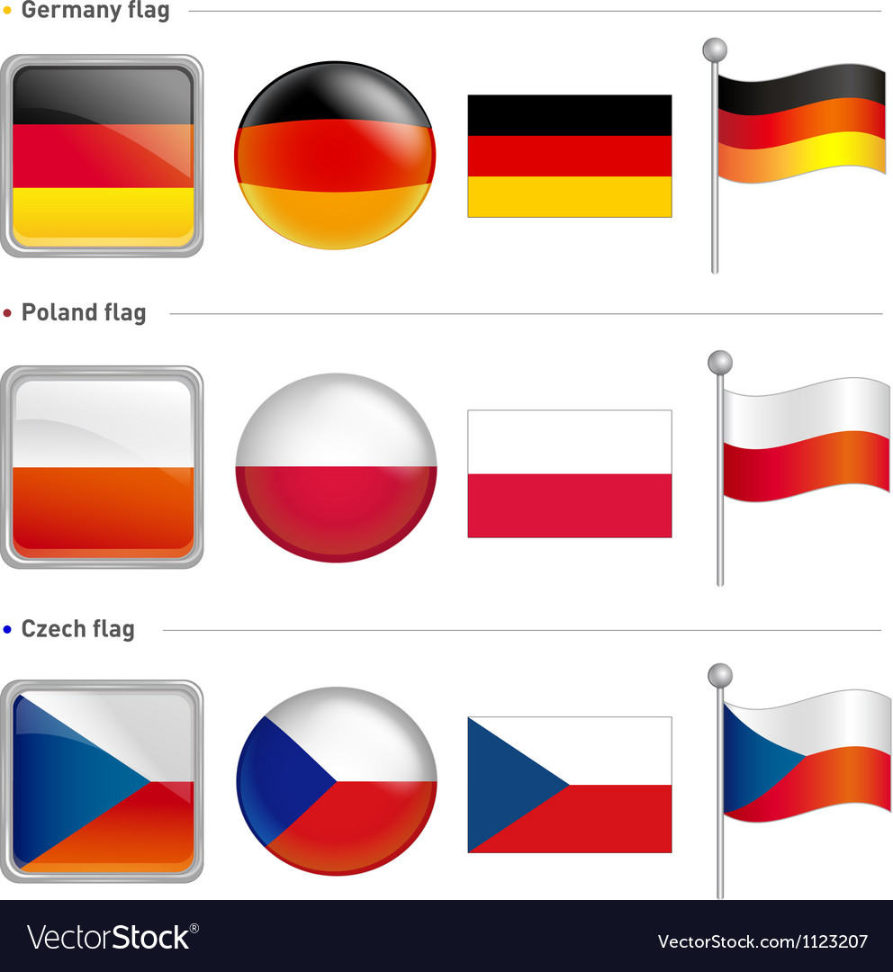 Germany and poland czech flag icon vector | Price: 1 Credit (USD $1)
