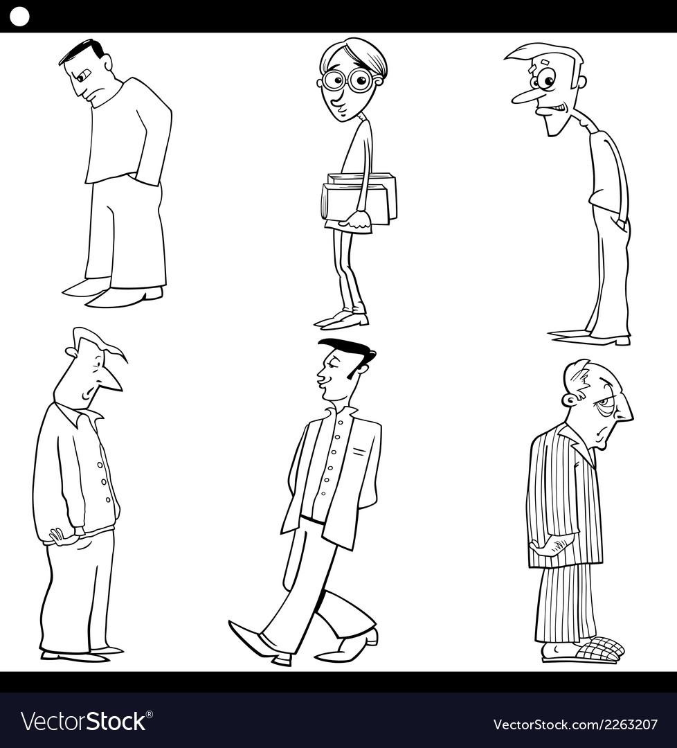 Men characters set cartoon vector | Price: 1 Credit (USD $1)
