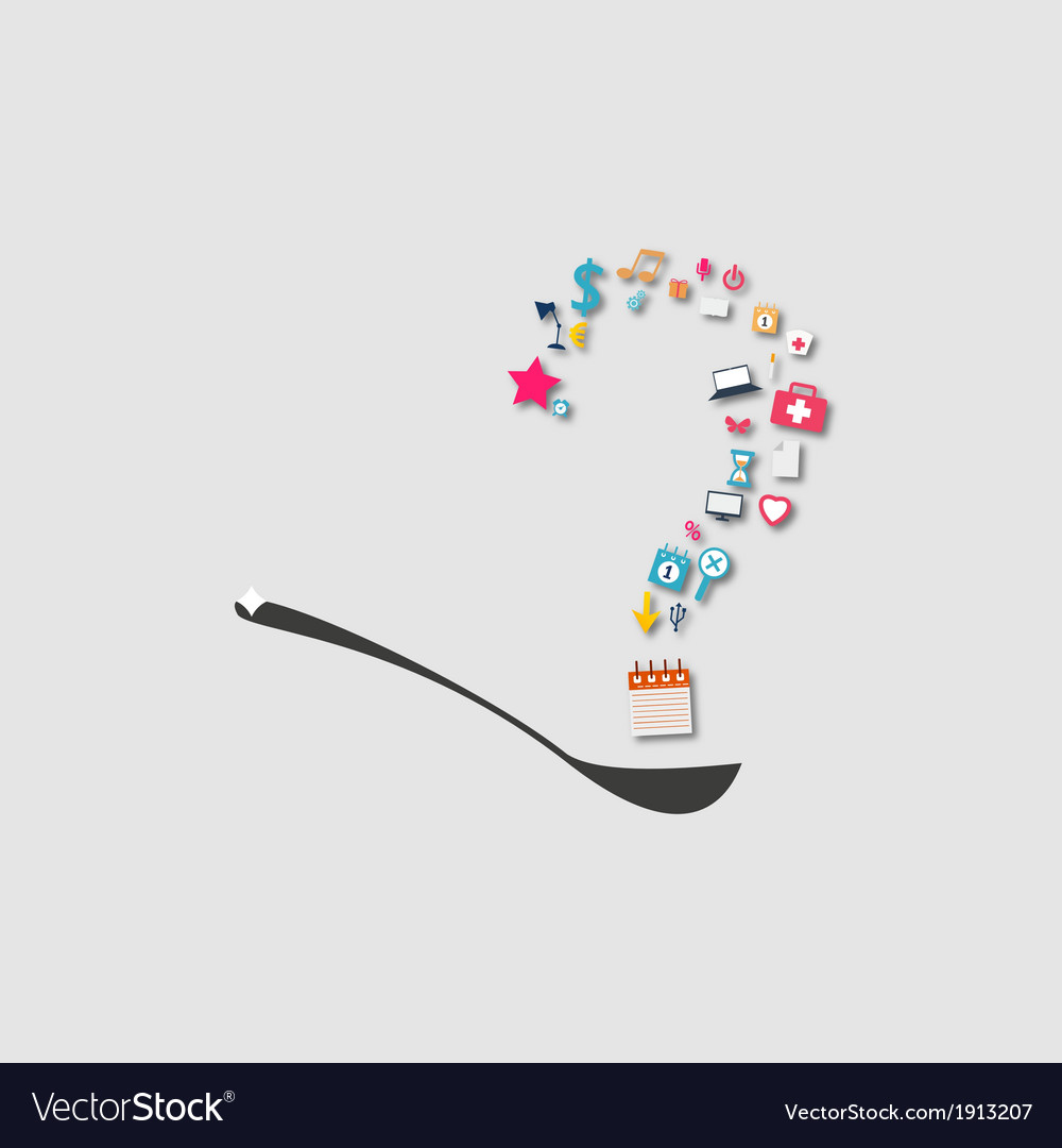 Question mark on a spoon icon vector | Price: 1 Credit (USD $1)