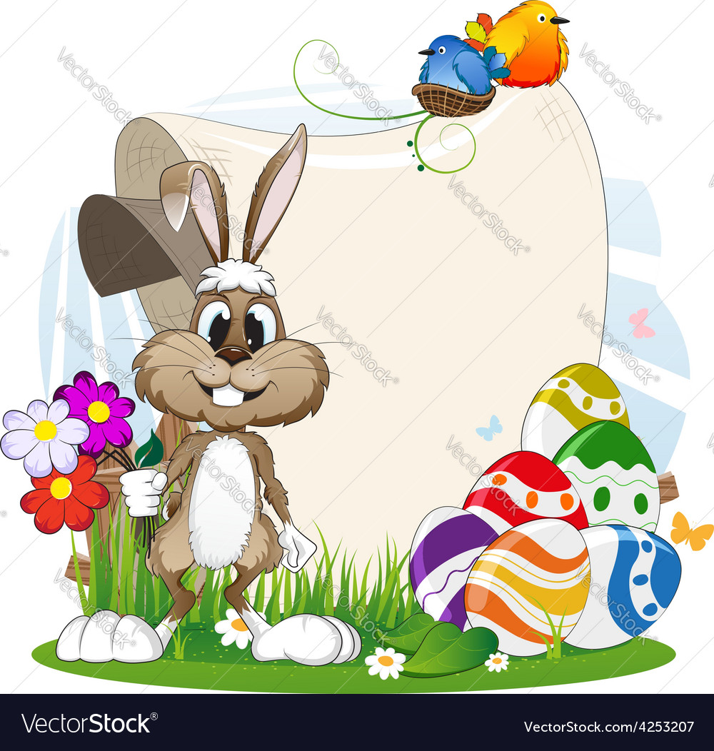 Rabbit with flowers and easter eggs vector | Price: 3 Credit (USD $3)
