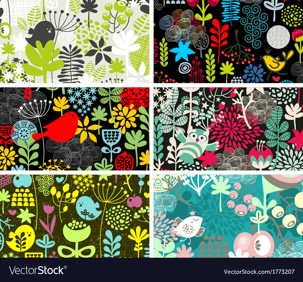 Set of six cards with birds and flowers vector | Price: 1 Credit (USD $1)