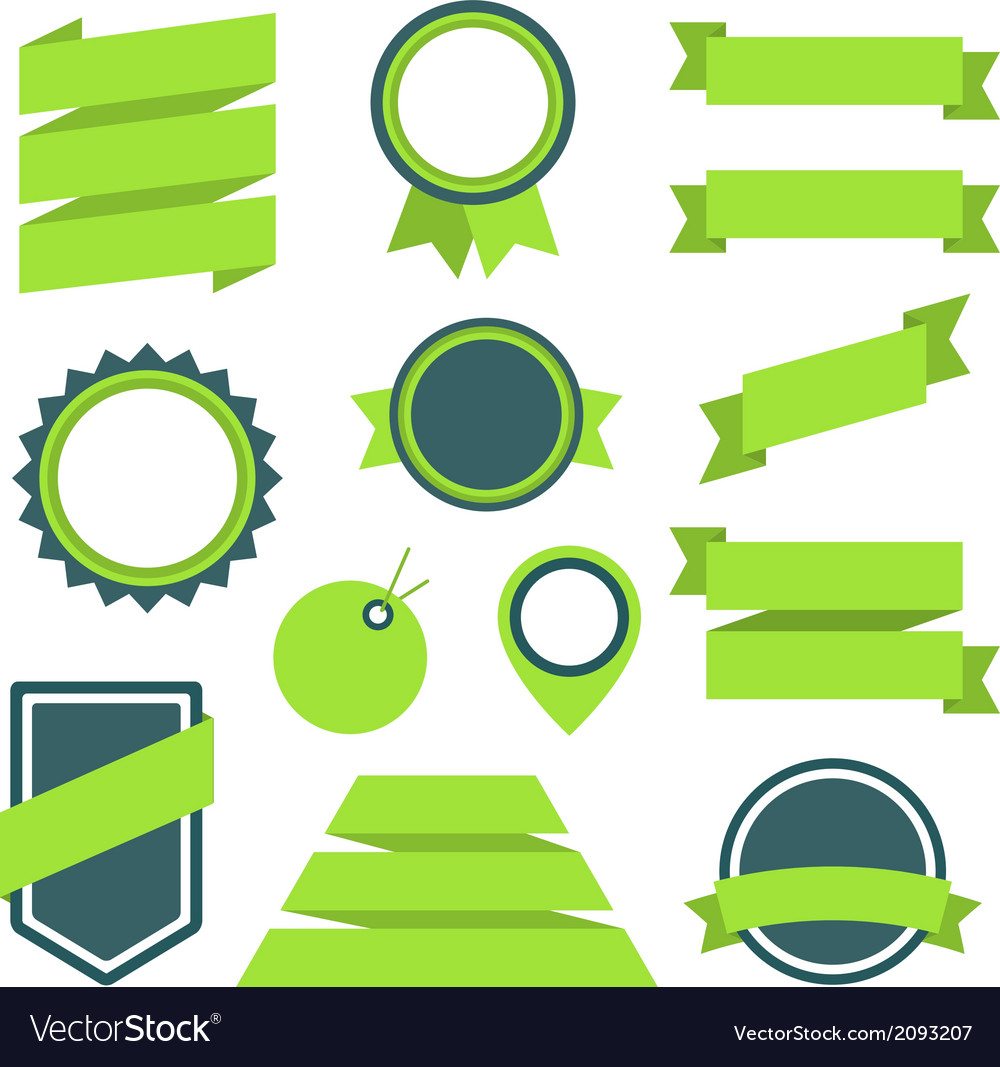 Stickers and badges set 11 flat style vector | Price: 1 Credit (USD $1)