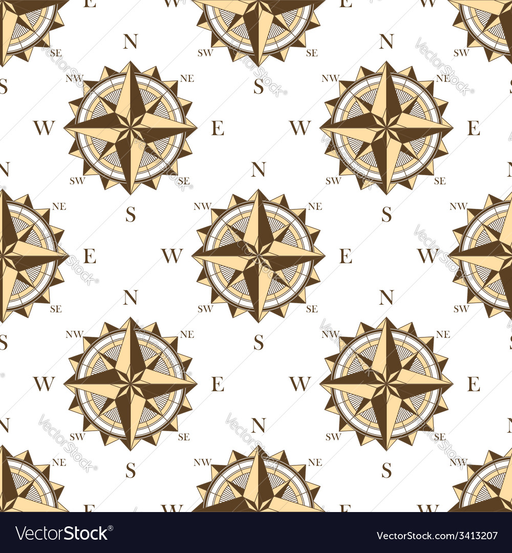 Vintage nautical compass seamless pattern vector | Price: 1 Credit (USD $1)