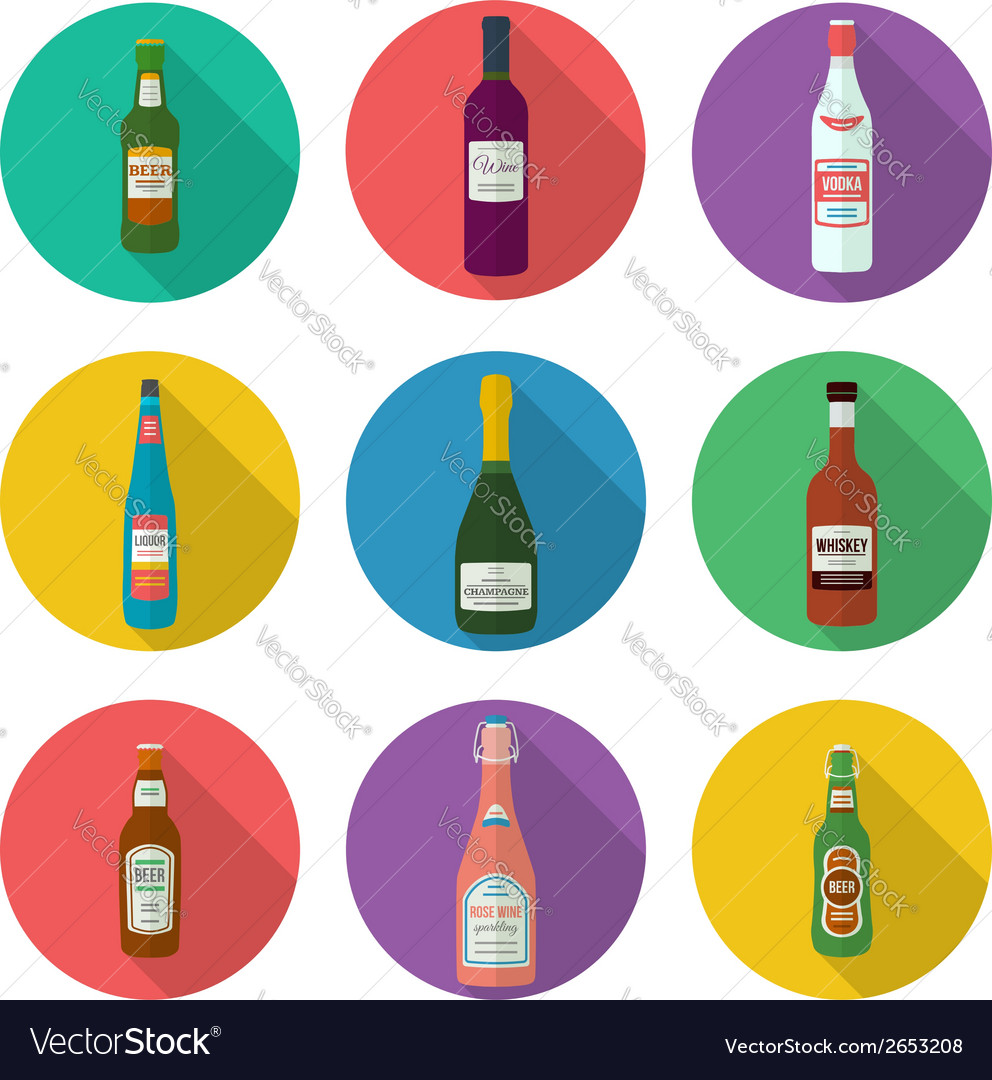 Alcohol bottles icons set vector | Price: 1 Credit (USD $1)