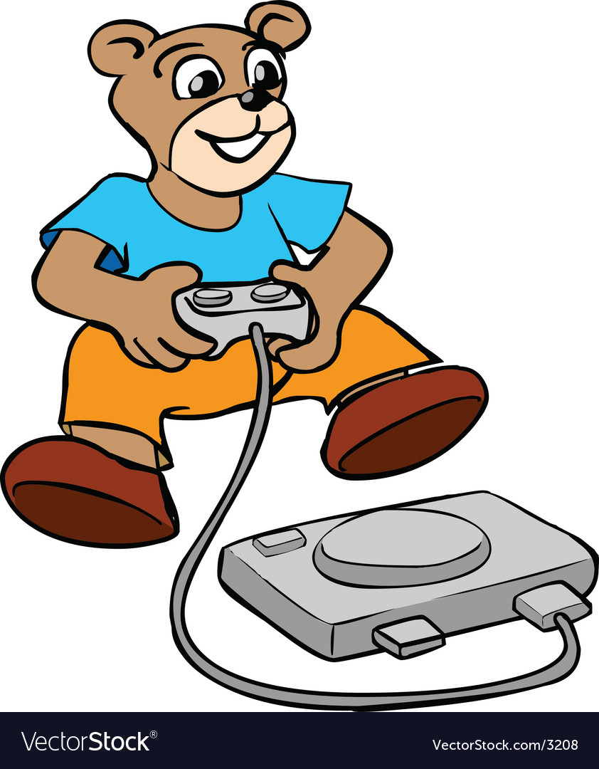 Bear kid playing console game vector | Price: 1 Credit (USD $1)