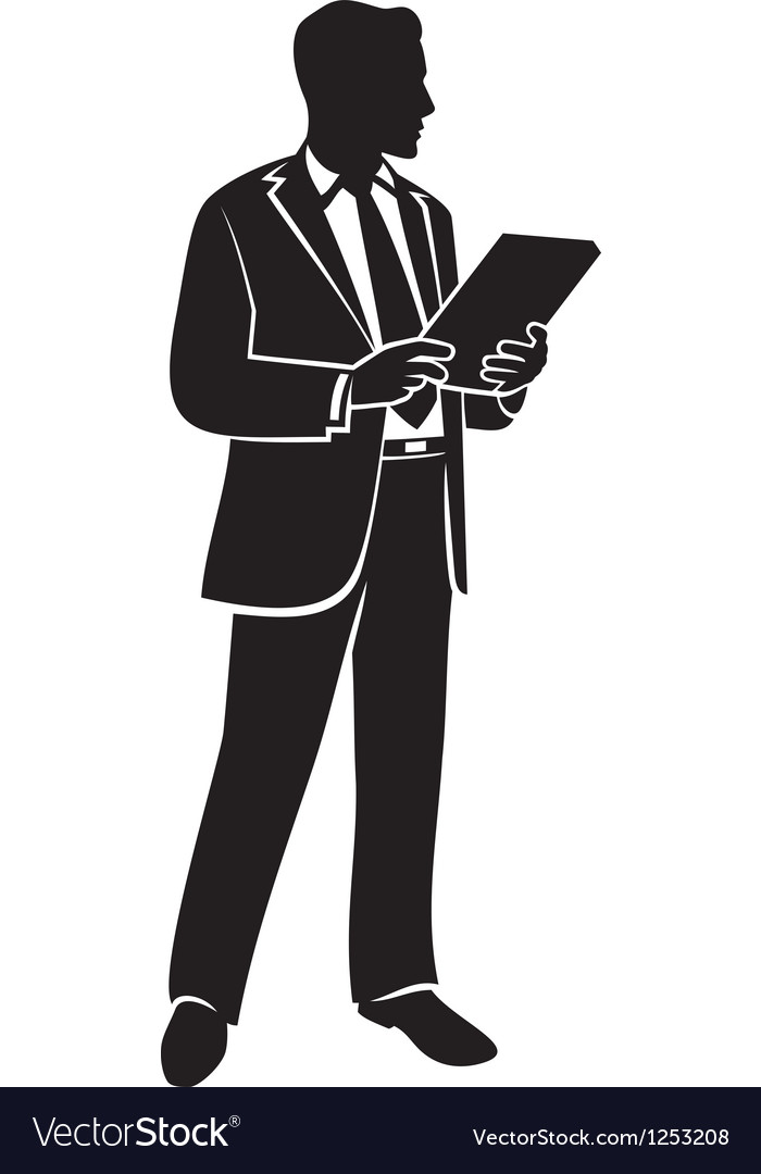 Businessman holding a folder vector | Price: 1 Credit (USD $1)