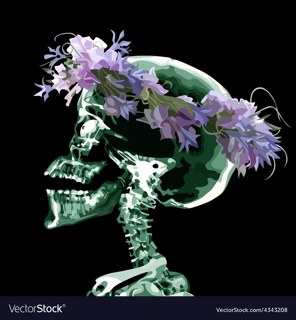 Cartoon skull wearing a crown of flowers vector | Price: 3 Credit (USD $3)