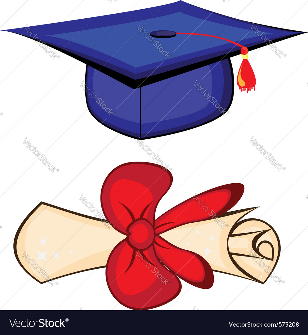Diploma and graduation cap vector | Price: 1 Credit (USD $1)