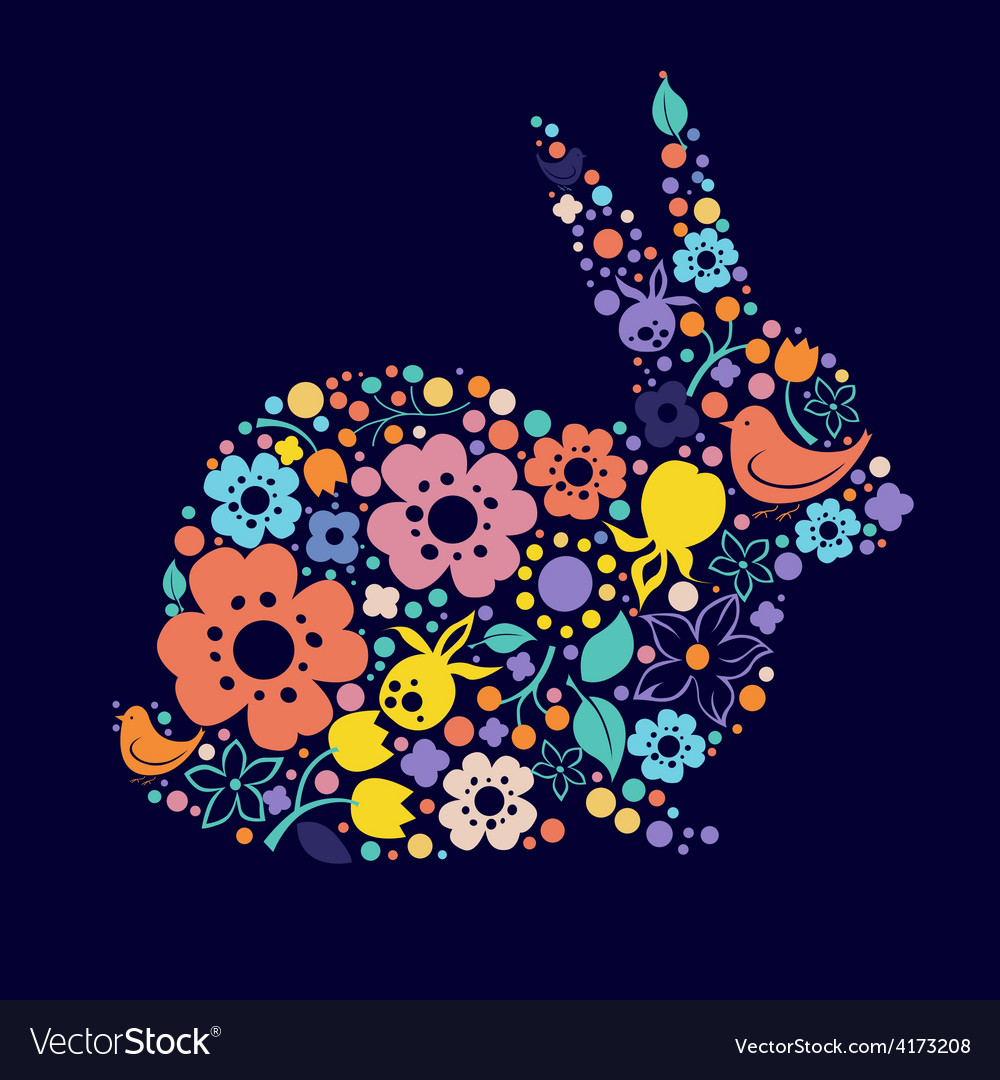 Easter design with floral bunny vector | Price: 3 Credit (USD $3)