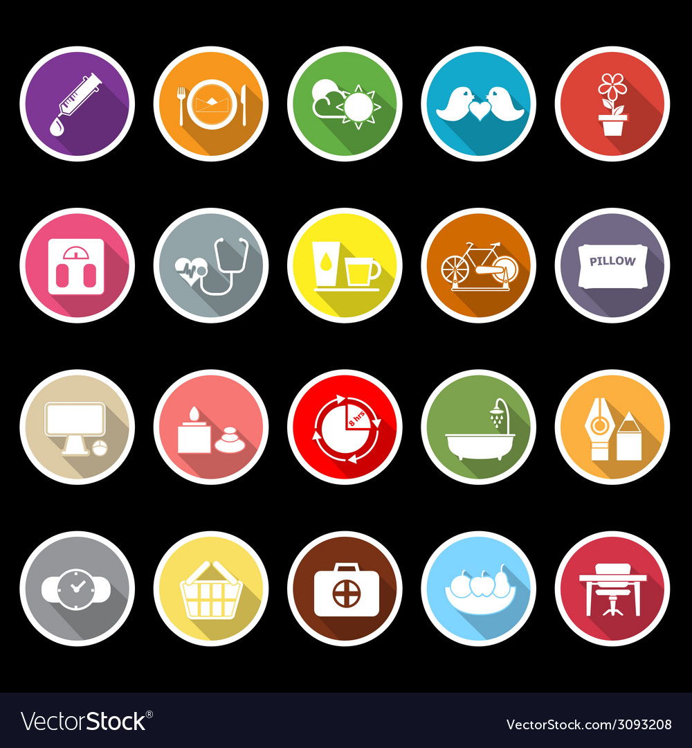 Health behavior flat icons with long shadow vector | Price: 1 Credit (USD $1)