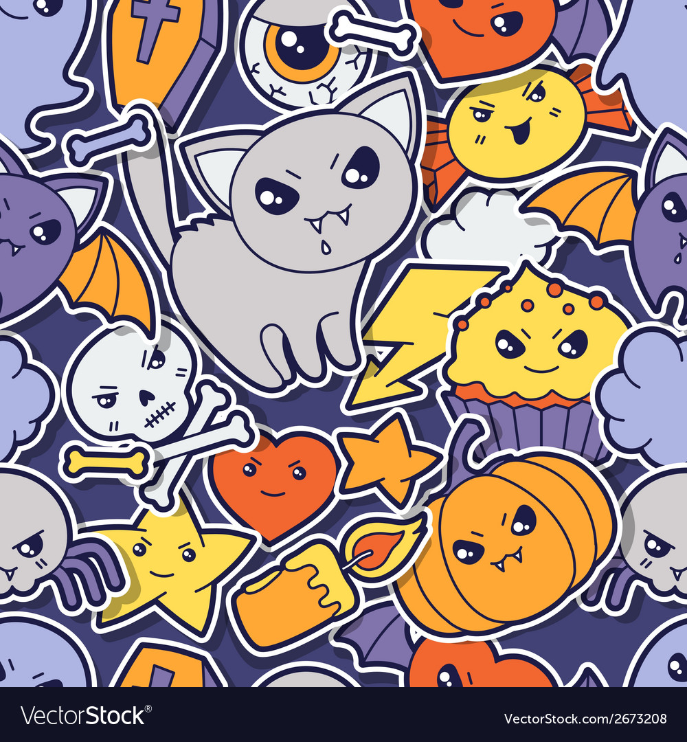 Seamless halloween kawaii pattern with sticker vector | Price: 1 Credit (USD $1)