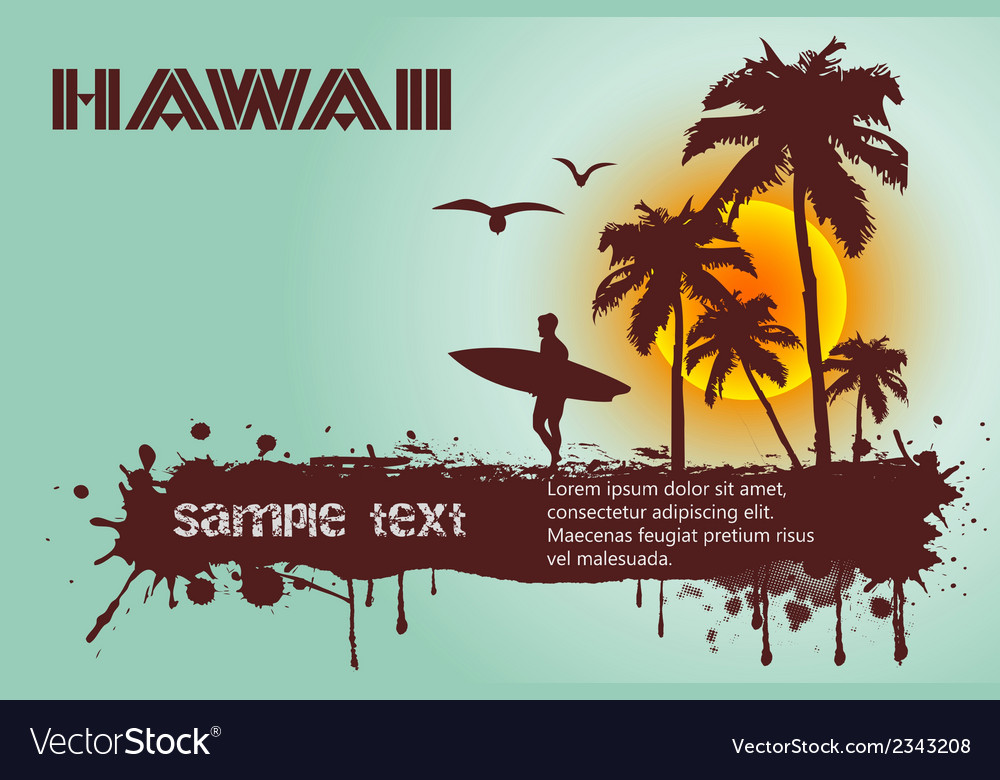 Silhouette of the surfer tropical beach vector | Price: 1 Credit (USD $1)