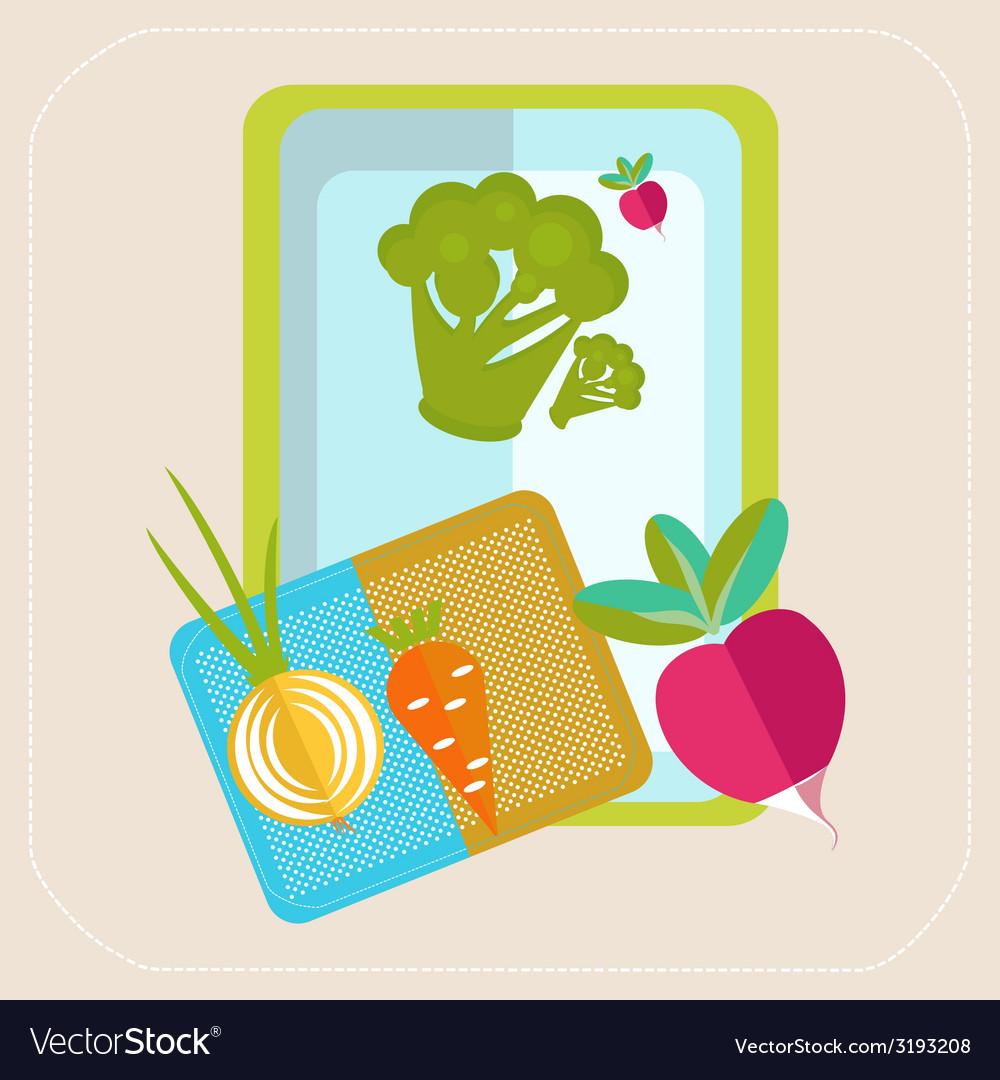Vegetables on the table icon vector | Price: 1 Credit (USD $1)
