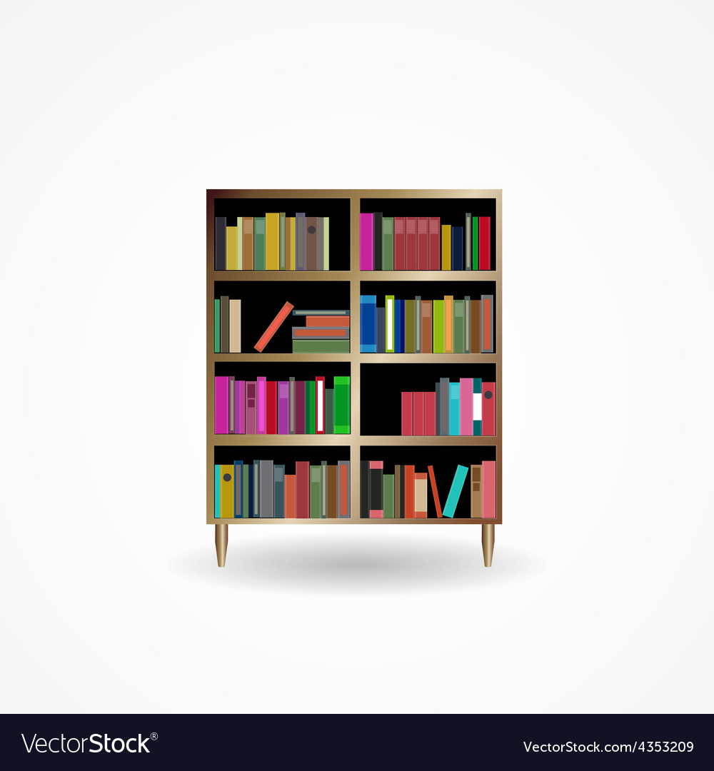 Bookcase with books icon vector | Price: 1 Credit (USD $1)