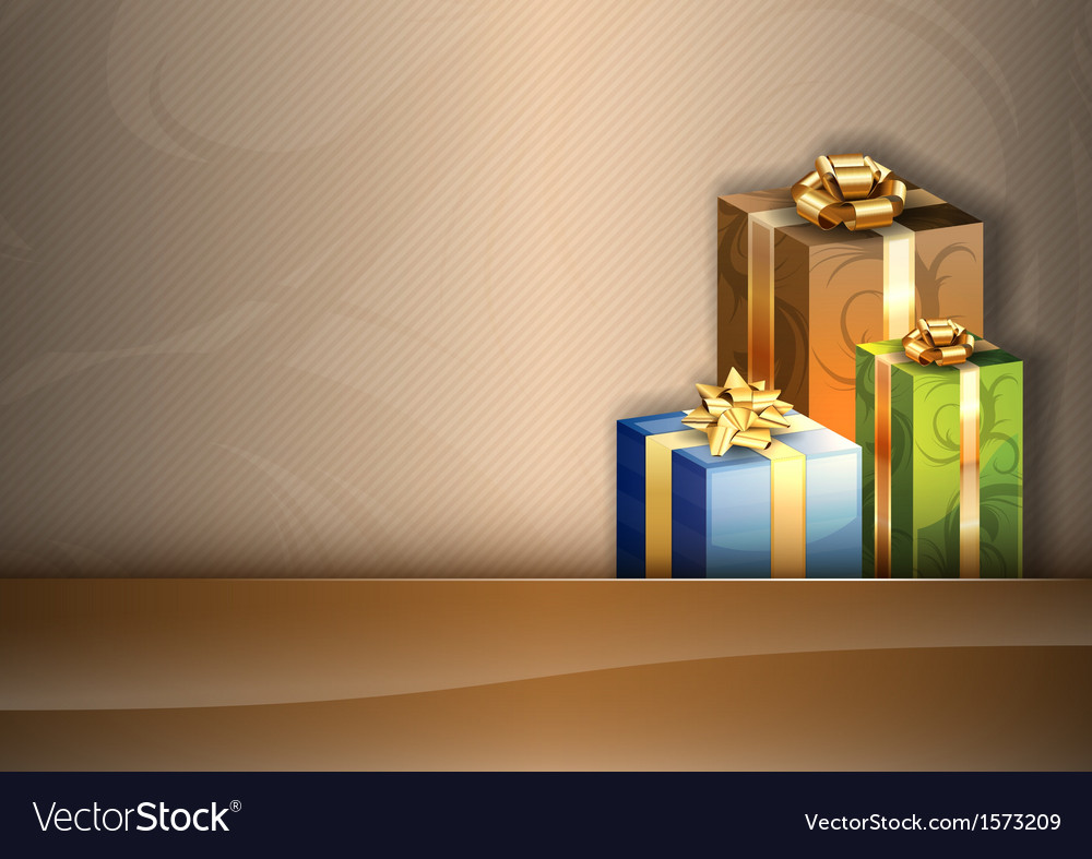 Christmas background brown stripe gifts vector | Price: 1 Credit (USD $1)