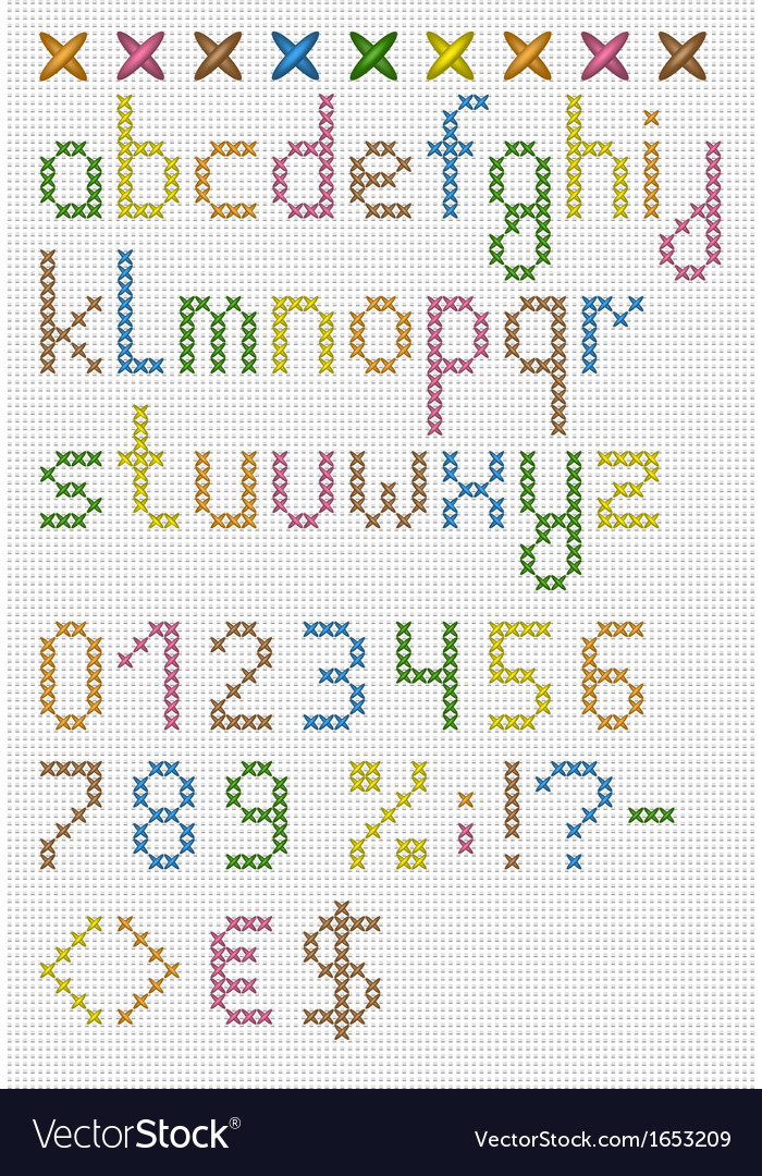 Colorful cross stitch lowercase english alphabet vector | Price: 1 Credit (USD $1)