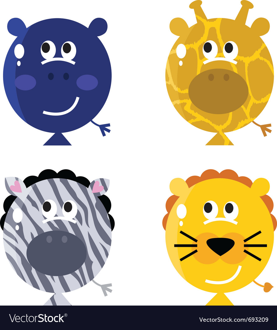 Cute animal balloon faces vector | Price: 1 Credit (USD $1)