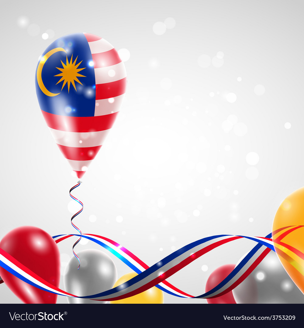 Flag of malaysia on balloon vector | Price: 1 Credit (USD $1)