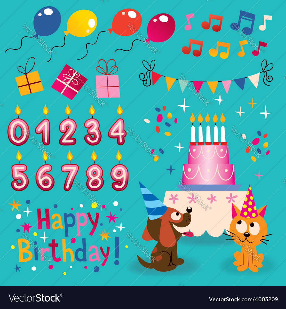 Happy birthday design elements set vector | Price: 1 Credit (USD $1)
