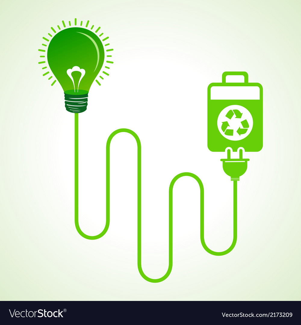 Light bulb charged by a eco cell concept vector | Price: 1 Credit (USD $1)