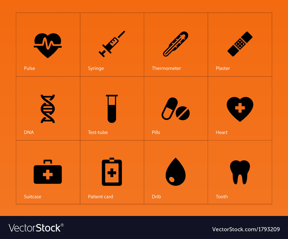 Medical icons on orange background vector | Price: 1 Credit (USD $1)