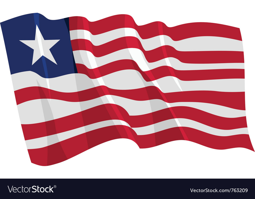 Political waving flag of liberia vector | Price: 1 Credit (USD $1)