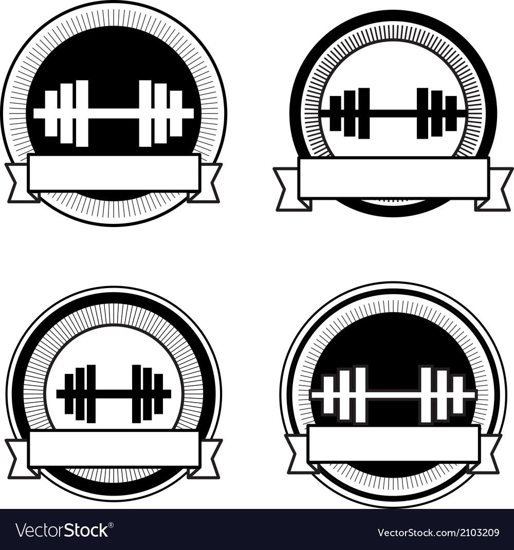 Retro bodybuilding badge vector | Price: 1 Credit (USD $1)