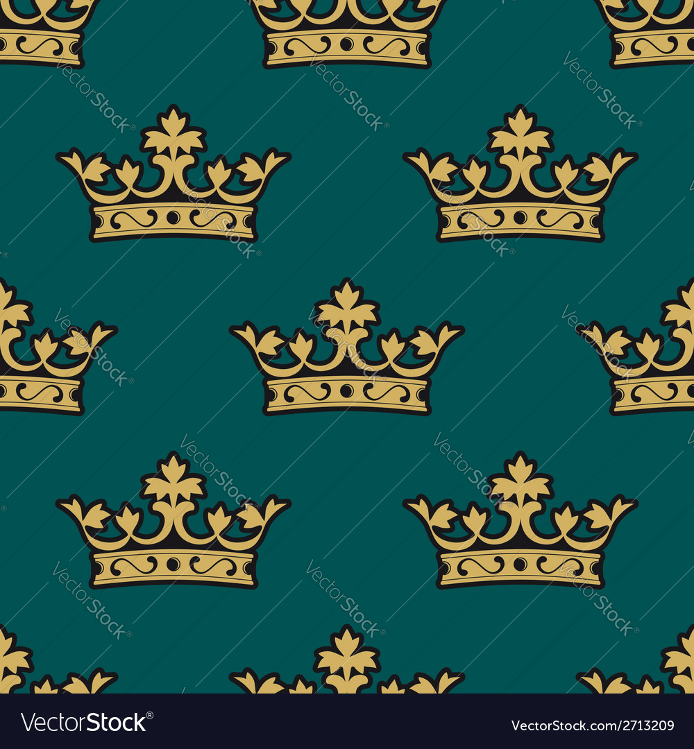 Royal seamless pattern with golden crowns vector | Price: 1 Credit (USD $1)