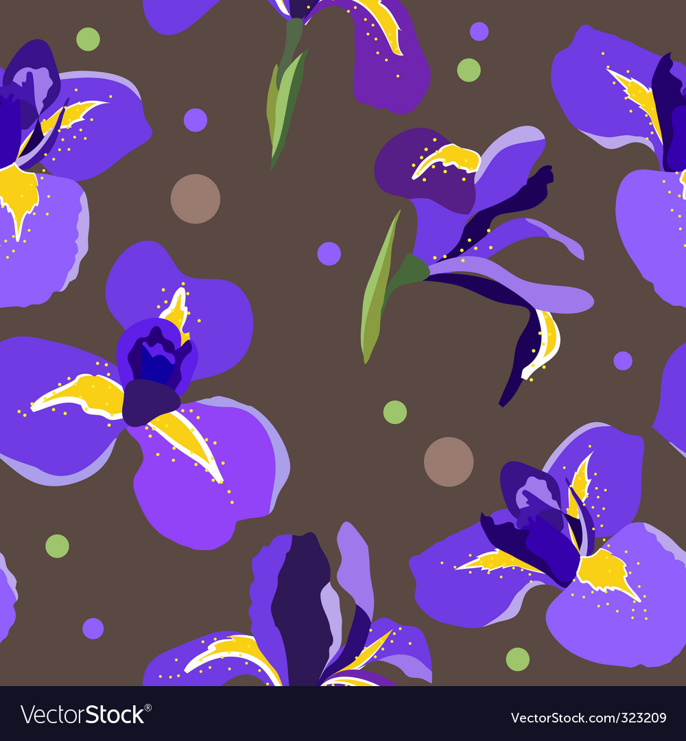 Seamless floral pattern with irises vector | Price: 1 Credit (USD $1)