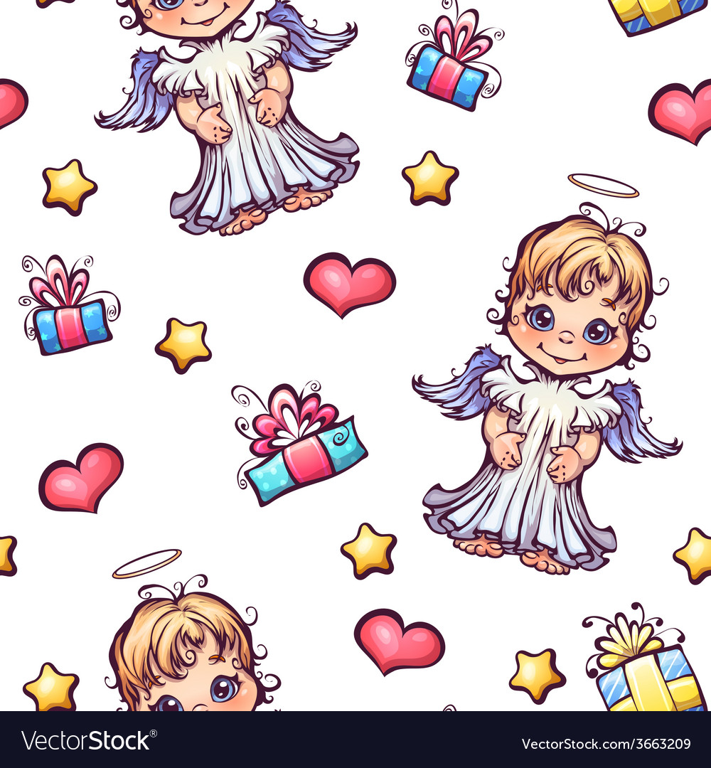 Seamless pattern with cartoon angels and gift vector | Price: 1 Credit (USD $1)