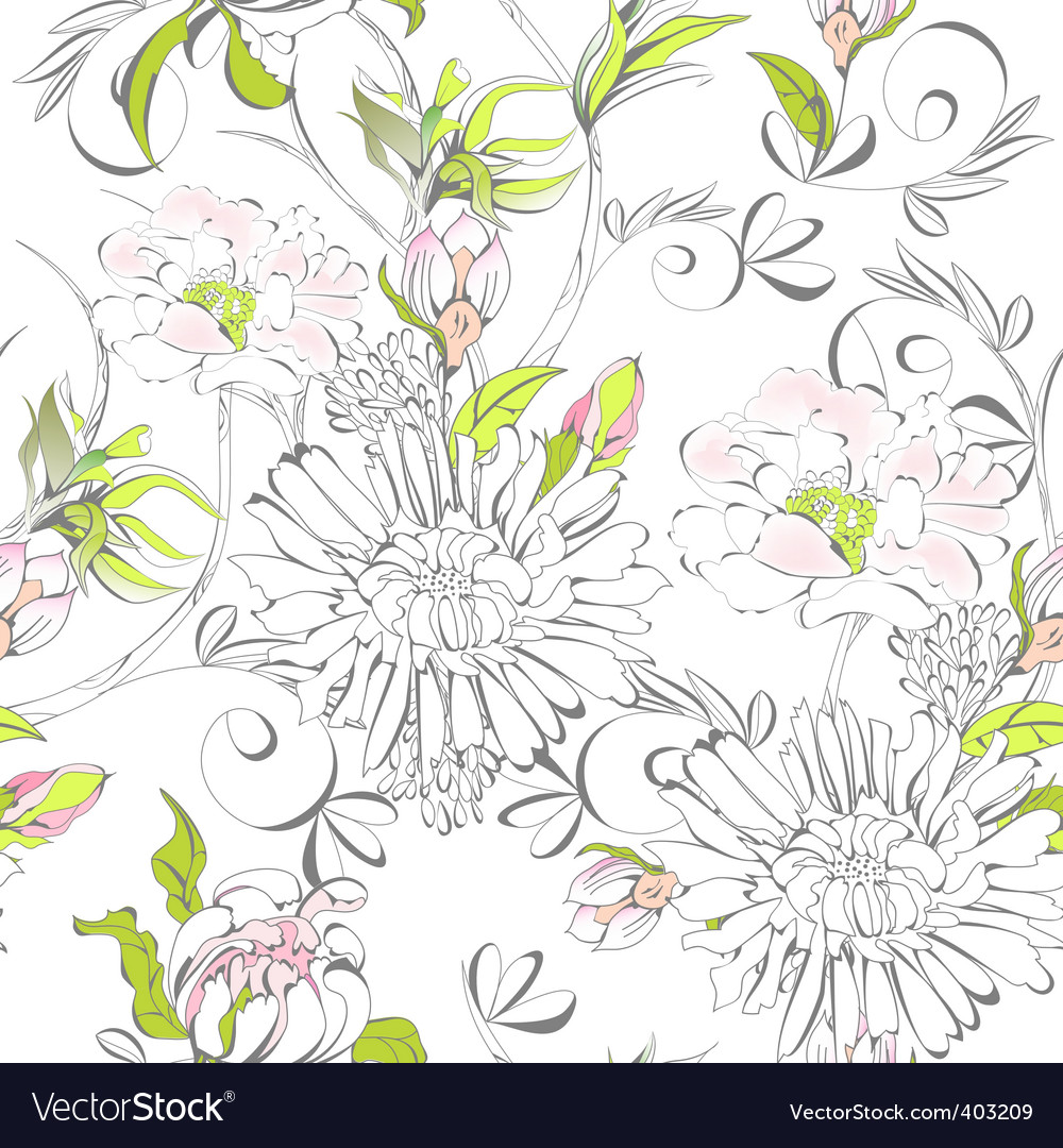 Seamless wallpaper with romantic flowers vector | Price: 1 Credit (USD $1)
